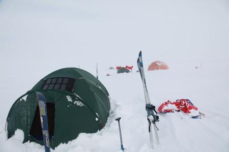 Solar panels on tent
